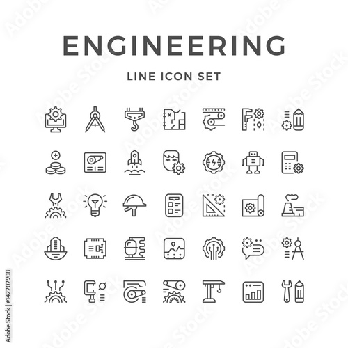 Fotografie, Obraz  Set line icons of engineering
