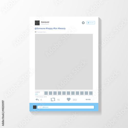 Obraz Social network photo frame vector illustration. Twitter. Mock up Vector illustration - fototapety do salonu