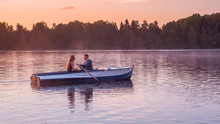 Romantic Golden Sunset River Lake Fog Loving Couple Small Rowing Boat Date Beautiful Lovers Ride During Happy Woman Man Together Relaxing Water Nature Around