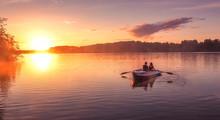 Romantic Golden Sunset River L...
