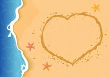 Summer Beach Texture Background With A Heart Shape On Sand. Vector Illustration.