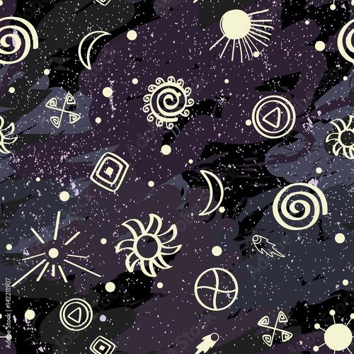 wektor-bez-szwu-desen-z-nowoczesnych-i-anchient-nieba-symboli-imitacja-przestrzeni