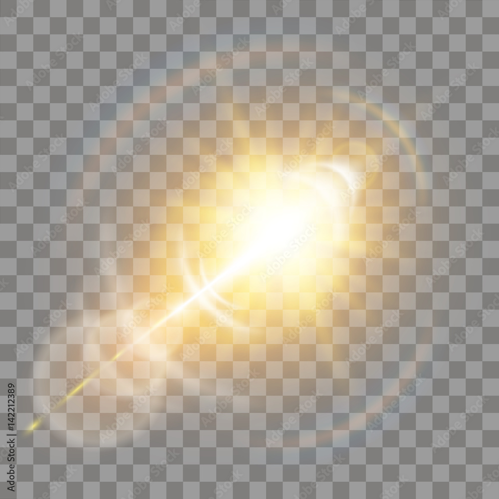 Fototapety, obrazy: Shining vector golden sun with light effects.Sun.