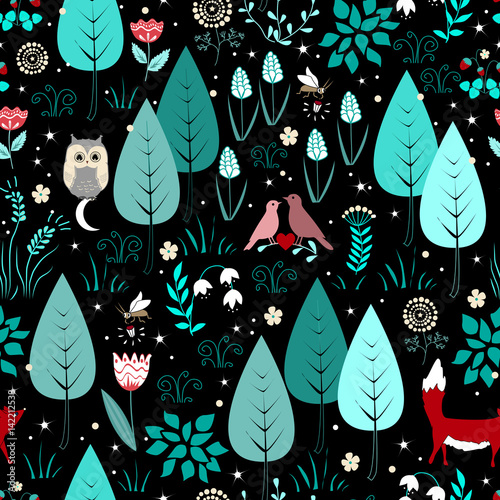 Cotton fabric Spring or summer pattern with fox, birds, flowers, and trees. Cute magic forest background