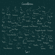 Vector Big Set Of 45 Constellations On Green Retro Background. Astronomy Education School Set