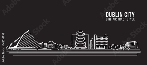 Cityscape Building Line art Vector Illustration design -  Dublin city Wallpaper Mural