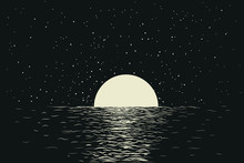 Seascape With Moon At The Night Sea