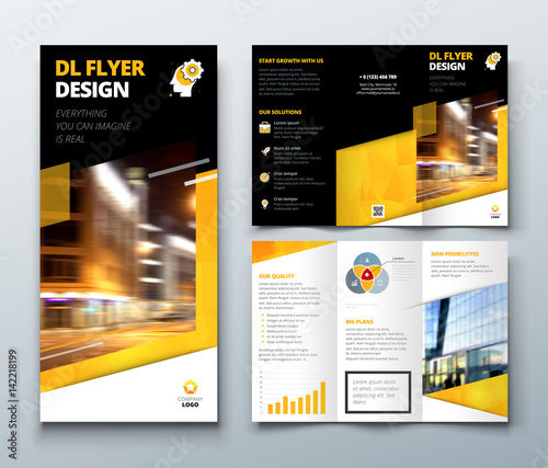 tri fold brochure design black yellow dl corporate business