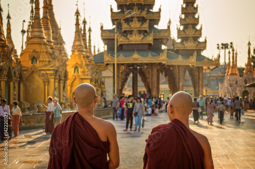 Monks at Shwedagon Pagoda in Yangon, Burma Myanmar Canvas Print