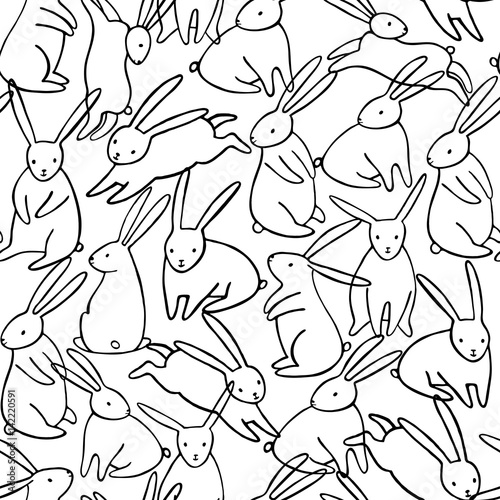 Vector rabbit seamless pattern Canvas Print