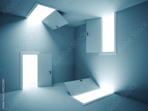 obraz dibond Surreal doors