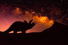 Dinosaur On Beauty Milky Background