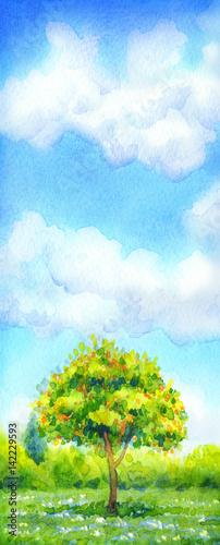 Staande foto Lime groen Watercolor landscape of series of