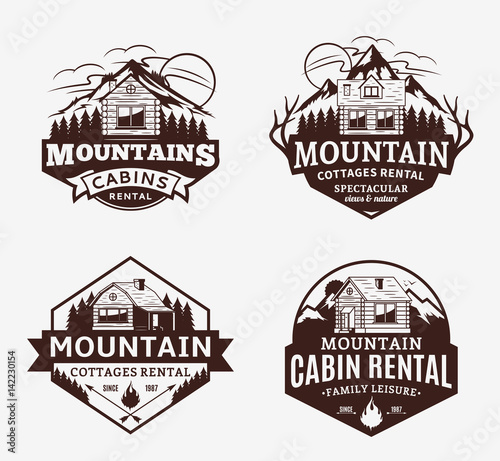 Canvas Print Mountain recreation and cabin rentals logo