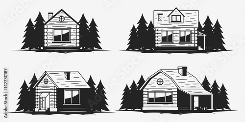 Wooden cabin icons Canvas Print