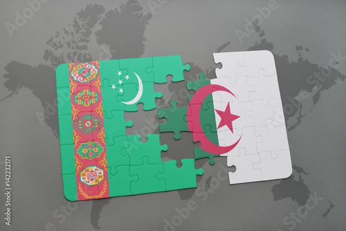 puzzle with the national flag of turkmenistan and algeria on a world ...