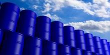 Oil Barrels Stack On Blue Sky ...
