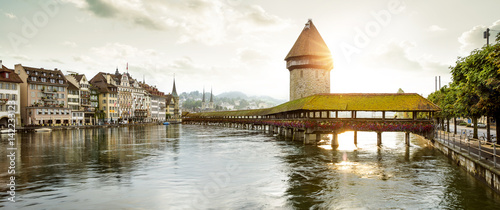Panorama of Lucerne old town with Chapel Bridge and Water Tower Fotobehang
