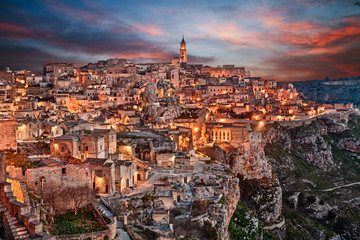 Fototapeta Miasta Matera, Basilicata, Italy: landscape of the old town
