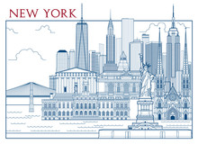 New York Attractions. Handmade Drawing Vector Illustration. All Buildings - Customizable Different Objects With Background Fill