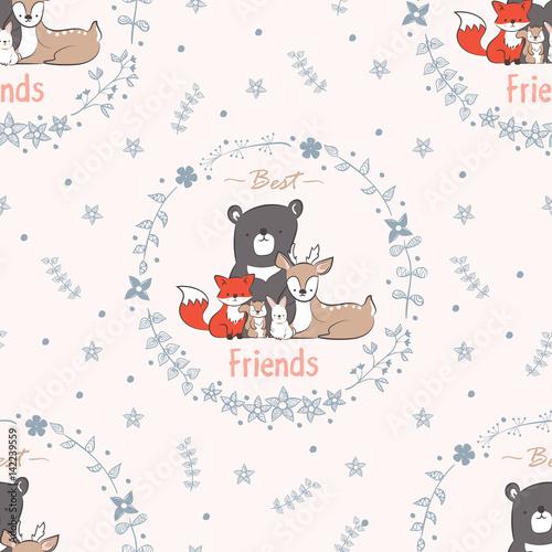 jednolite-tlo-najlepszych-przyjaciol-na-zawsze-wzor-z-doodle-slicznego-lisa-krolika-jelenia-niedzwiedzia-bobra-i-wiewiorki-w
