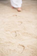 Jesus Walking Leaving Footprints