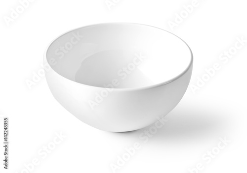 Photo  White empty bowl isolated on white background,