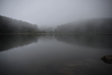 Mysterious Dark Lake In The Mo...