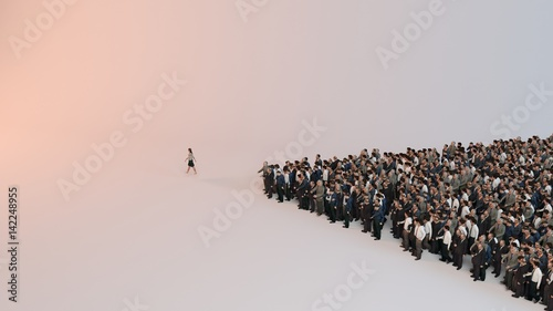 single woman leading group of people 3d illustration Wallpaper Mural