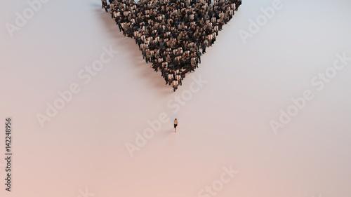 Fotografía single woman leading group of people 3d illustration