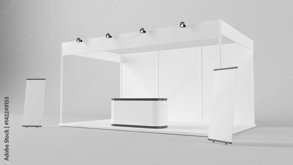 Fototapeta White creative exhibition stand design. Booth template. Corporate identity 3d rendering