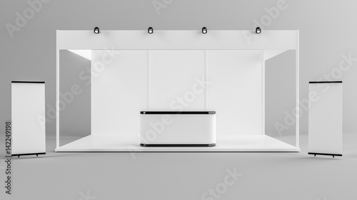 Fototapeta White creative exhibition stand design
