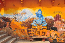 Dasashvamedha Ghat Varanasi, India, An Old Crumbling Mural On The Holiest Ghat To The Ganges River.