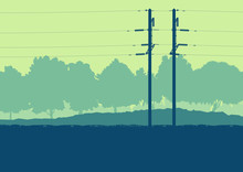 Energy Distribution High Voltage Power Line Tower Sunset Landscape With Wires And Trees Vector