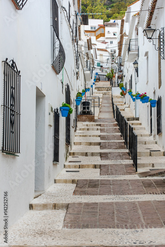 Charming street of Mijas village in Spain