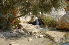 Waterfall In The Rocks Of Ein Gedi Dead Sea