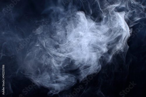 Garden Poster Smoke Fluffy Puffs of Smoke and Fog on Black Background