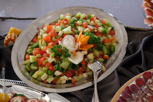 Foto auf AluDibond Vorspeise Classic Croatian plate with fine salad with cheese, pepper, cucumber and tomatoes;