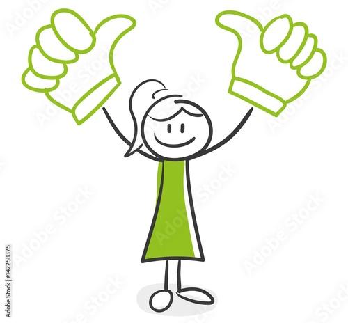 Photo Stick Figure Series Green Woman / Daumen hoch, Sieg
