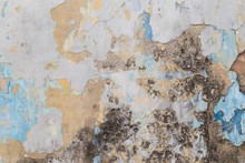 Weathered, Faded And Peeled Off Colorful Concrete Wall Texture Background.