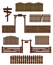 Set Of Wooden Fences With Gate...