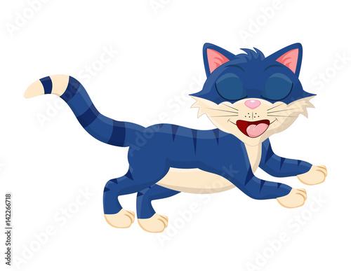 Foto op Plexiglas Zeemeermin cartoon cat with closed eyes vector symbol icon design.