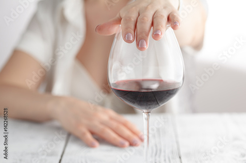 woman refused a glass of wine Canvas Print