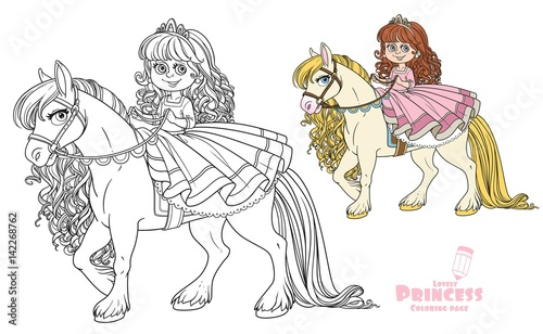 Cute Little Princess Riding On A White Horse Color And Outlined Picture For Coloring Book