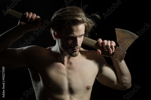 Sexy lumberjack shirtless, manual worker  Lumberjack with ax