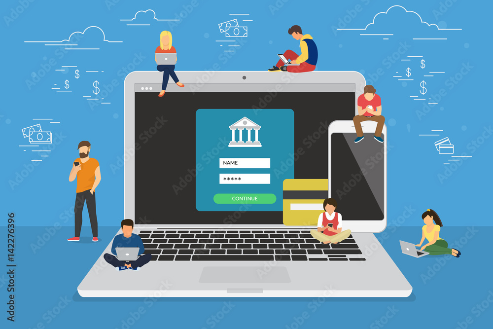 Fototapeta Mobile banking concept illustration of people using laptop and mobile smart phone for online banking and accounting. Flat men and women near big gadgets with credit cards and bank symbols