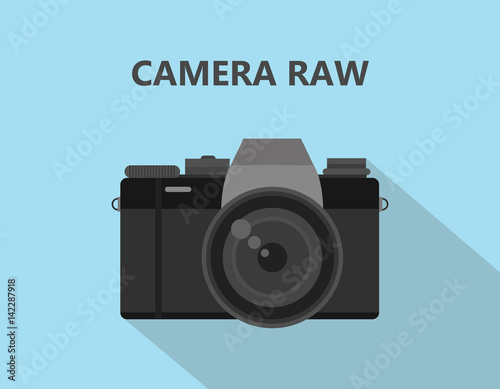 Cuadros en Lienzo Camera RAW format file illustration with camera icon with shadow and blue backgr