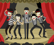 Five Mime Clowns Playing Actor...