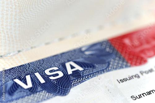 Obraz na plátně close up on USA visa on the passport