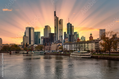 Poster Australie Skyline of Frankfurt, Germany, the financial center of the country.